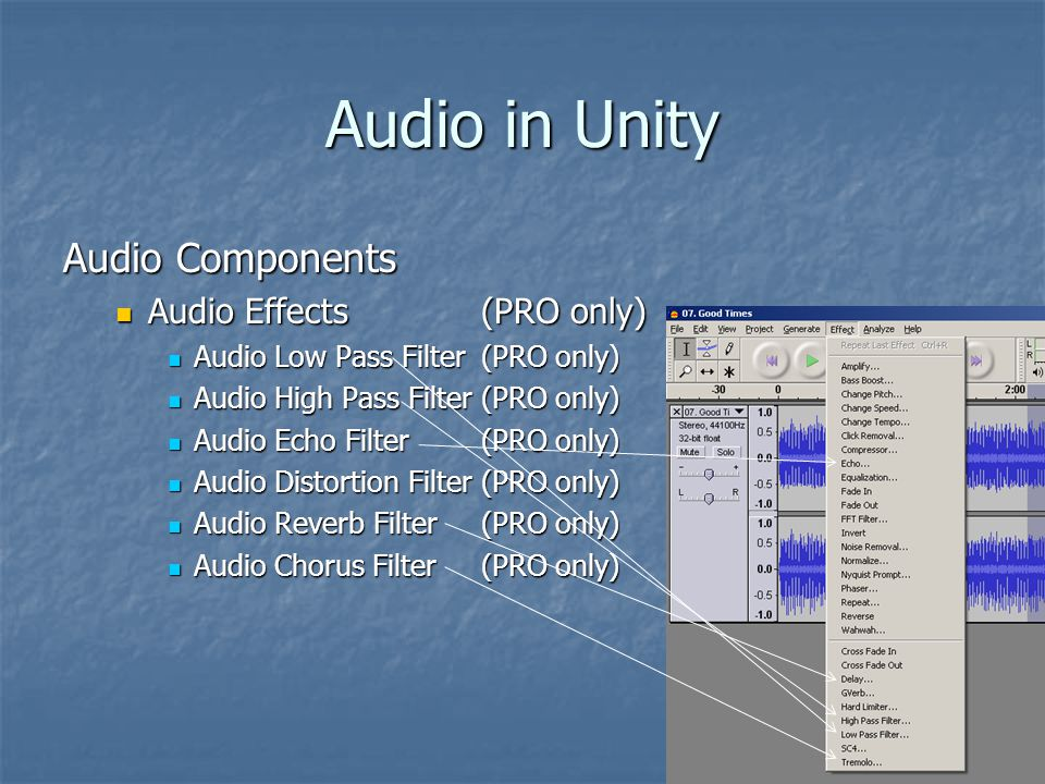 Audio in Unity Audio Components Audio Effects(PRO only) Audio Effects(PRO only) Audio Low Pass Filter(PRO only) Audio Low Pass Filter(PRO only) Audio High Pass Filter(PRO only) Audio High Pass Filter(PRO only) Audio Echo Filter(PRO only) Audio Echo Filter(PRO only) Audio Distortion Filter(PRO only) Audio Distortion Filter(PRO only) Audio Reverb Filter(PRO only) Audio Reverb Filter(PRO only) Audio Chorus Filter(PRO only) Audio Chorus Filter(PRO only)