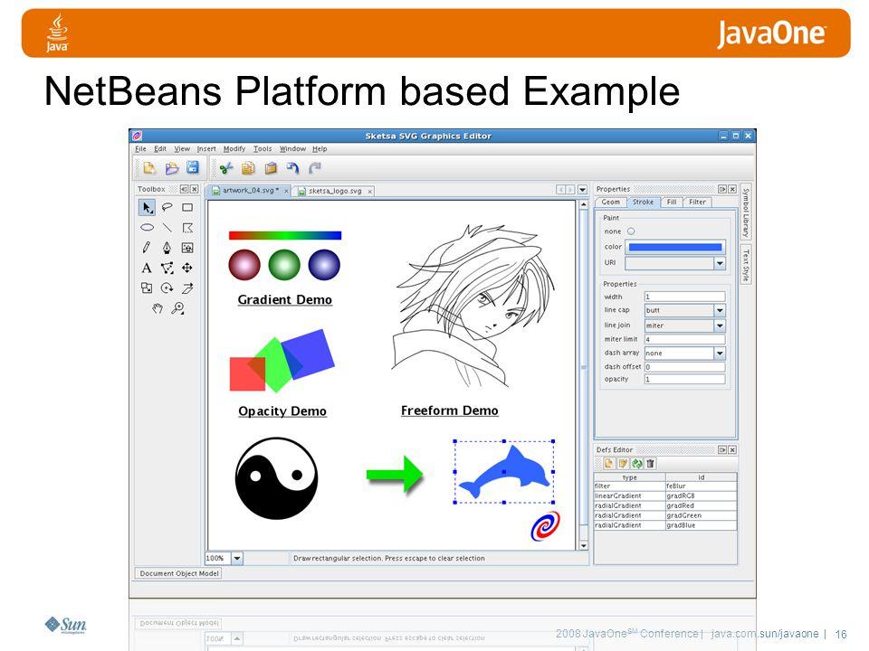 2008 JavaOne SM Conference | java.com.sun/javaone | 16 NetBeans Platform based Example
