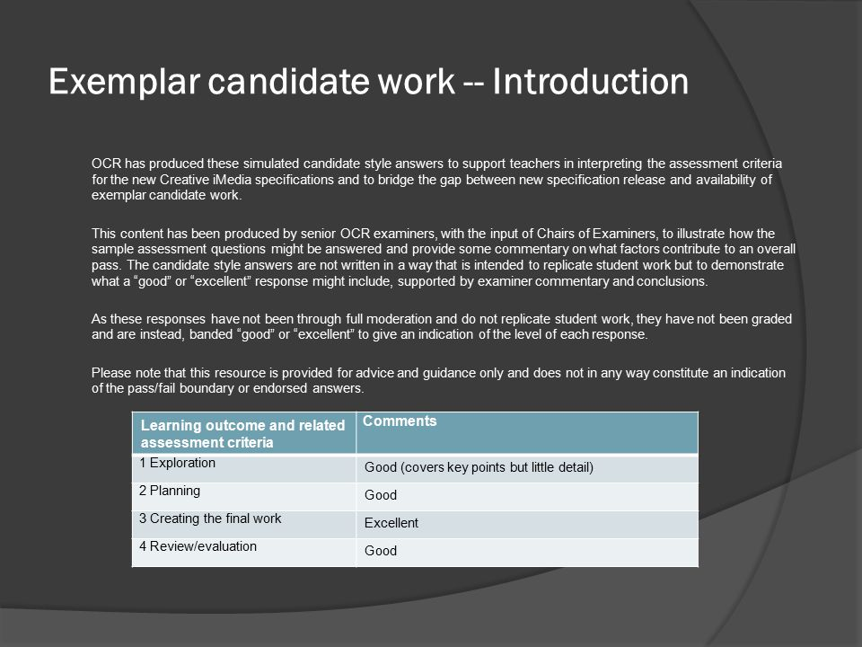 Exemplar candidate work -- Introduction OCR has produced these simulated candidate style answers to support teachers in interpreting the assessment cr