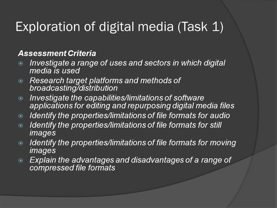 Compressed/uncompressed file formats  Uncompressed file formats contain the full quality of the original work.