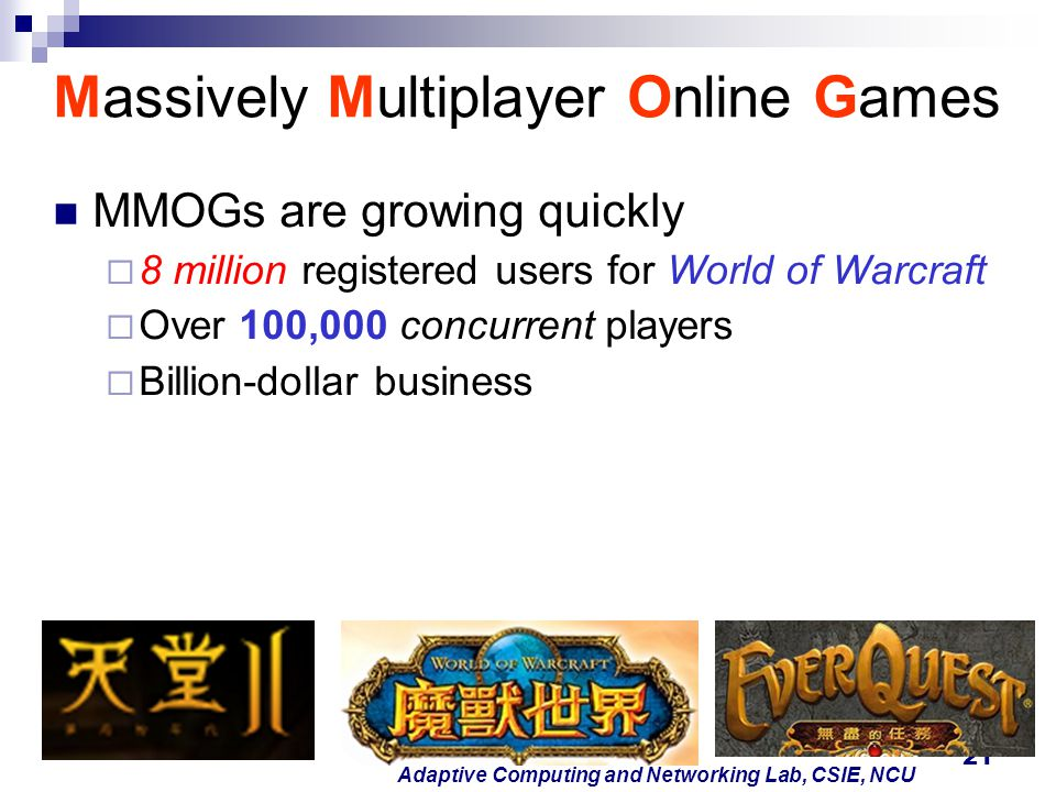 21 Adaptive Computing and Networking Lab, CSIE, NCU Massively Multiplayer Online Games MMOGs are growing quickly  8 million registered users for Worl