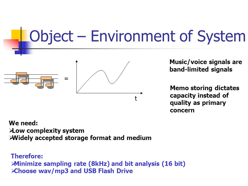 Object – Environment of System t = Music/voice signals are band-limited signals Memo storing dictates capacity instead of quality as primary concern We need:  Low complexity system  Widely accepted storage format and medium Therefore:  Minimize sampling rate (8kHz) and bit analysis (16 bit)  Choose wav/mp3 and USB Flash Drive