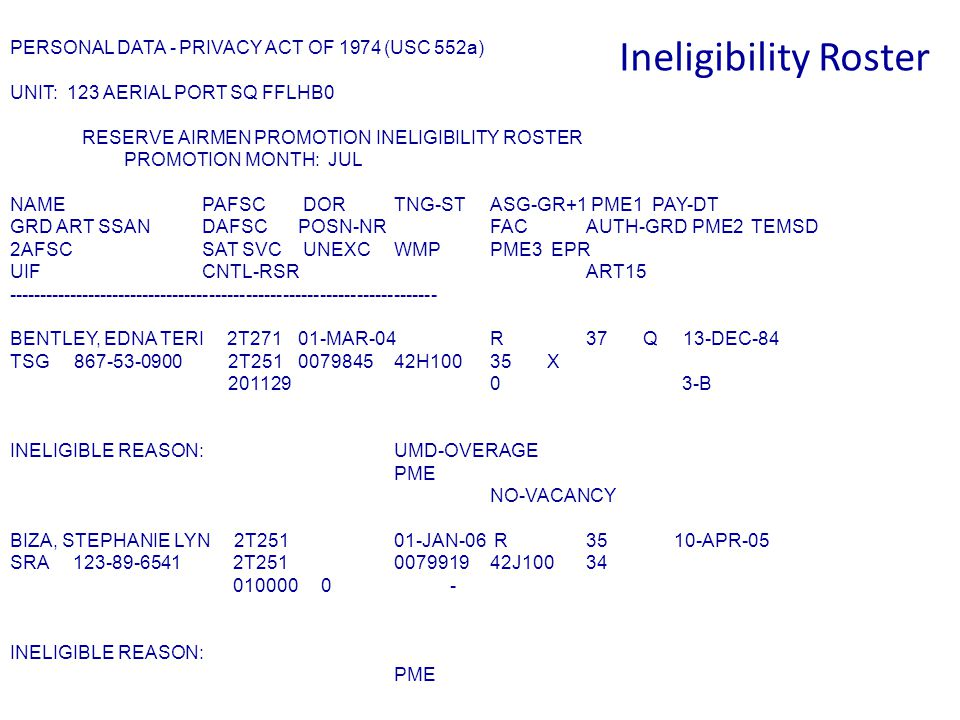 MP4: Ineligible for Promotion  A member in training status code T is ineligible  An EPR that is a referral or a rating of a 2 would render a member ineligible, unless a new EPR is written with at least an overall rating of a 3  A referral EPR due to a Fitness Test Failure  1 year from the date of a court martial order or the longest period of punishment renders a member ineligible  The member is blocked for promotion  The airman does not meet the requirements of Table 4.2, eligibility requirements  A member with an Unexcused Absence on the books in the previous 12 months