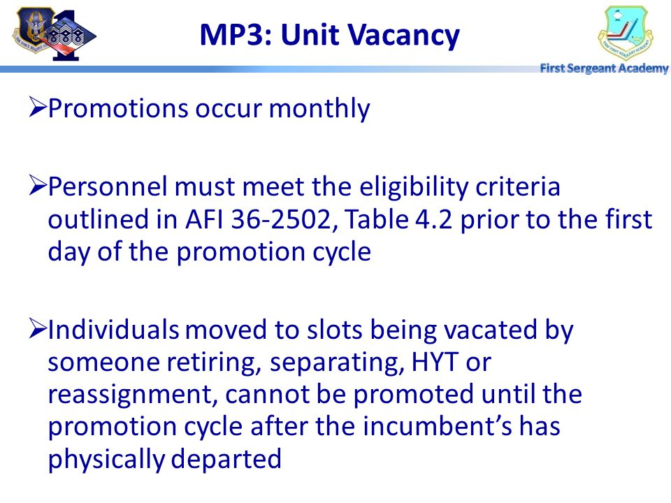 MP3: Types of Promotions Unit Vacancy Promotion Extended Promotion Program (EPP) Promotion Enhancement Program (PEP)