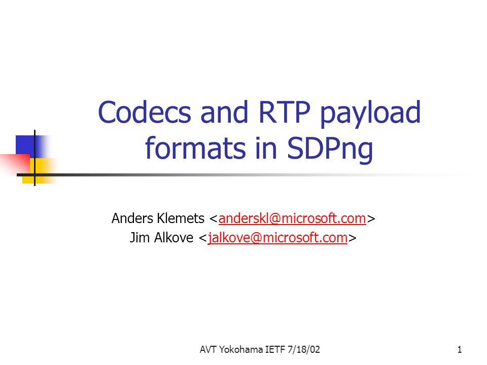 AVT Yokohama IETF 7/18/021 Codecs and RTP payload formats in SDPng Anders Klemets anderskl@microsoft.com Jim Alkove jalkove@microsoft.com