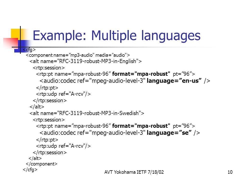 AVT Yokohama IETF 7/18/0210 Example: Multiple languages