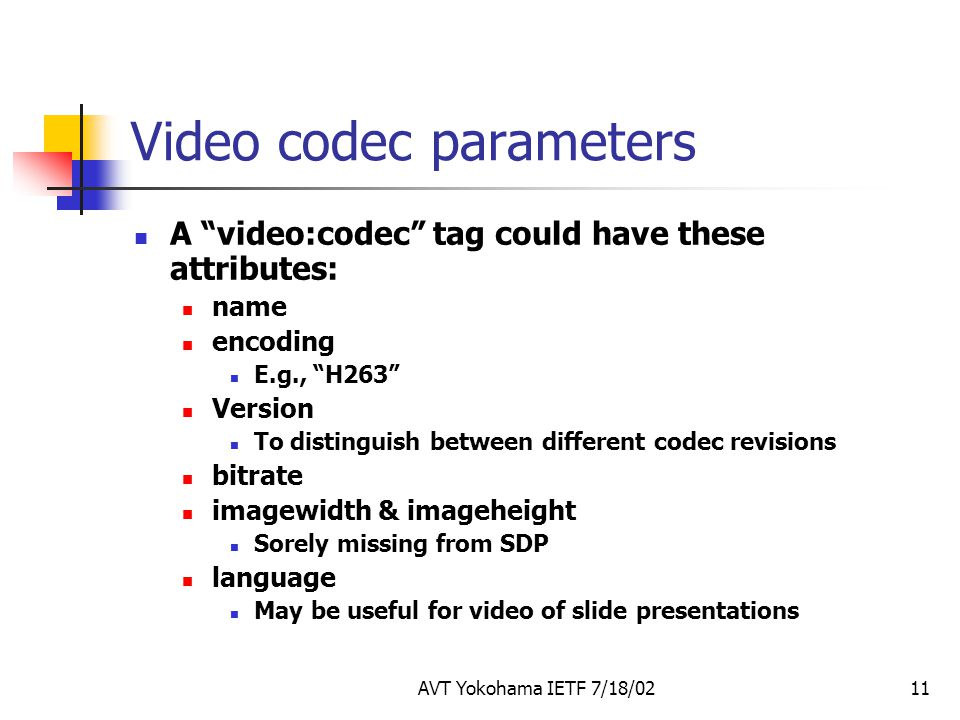 AVT Yokohama IETF 7/18/0211 Video codec parameters A video:codec tag could have these attributes: name encoding E.g., H263 Version To distinguish between different codec revisions bitrate imagewidth & imageheight Sorely missing from SDP language May be useful for video of slide presentations