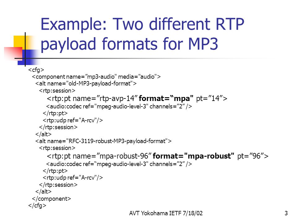 AVT Yokohama IETF 7/18/023 Example: Two different RTP payload formats for MP3