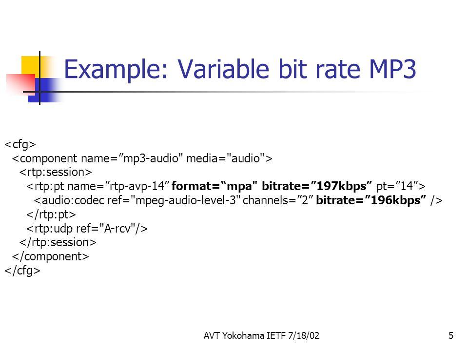 AVT Yokohama IETF 7/18/025 Example: Variable bit rate MP3