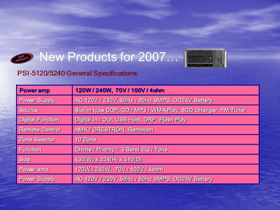 New Products for 2007… PSI-5120/5240 General Specifications: Power amp 120W / 240W, 70V / 100V / 4ohm Power Supply AC 120V / 230V, 50Hz / 60Hz SMPS, DC24V Battery Source Slot-in type CDP, CD / MP3 / WMA Play, 6CD Changer, FM Tuner Digital Function Digital In / Out, USB Host, DRP, Flash Play Remote Control AMX / CRESTRON, Remocon Zone Selector 10 Zone Function Chime / Priority / 3 Band EQ / Tone Size 430(W) x 204(H) x 310(D) Power amp 120W / 240W, 70V / 100V / 4ohm Power Supply AC 120V / 230V, 50Hz / 60Hz SMPS, DC24V Battery