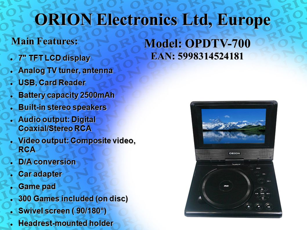 ORION Electronics Ltd, Europe 7