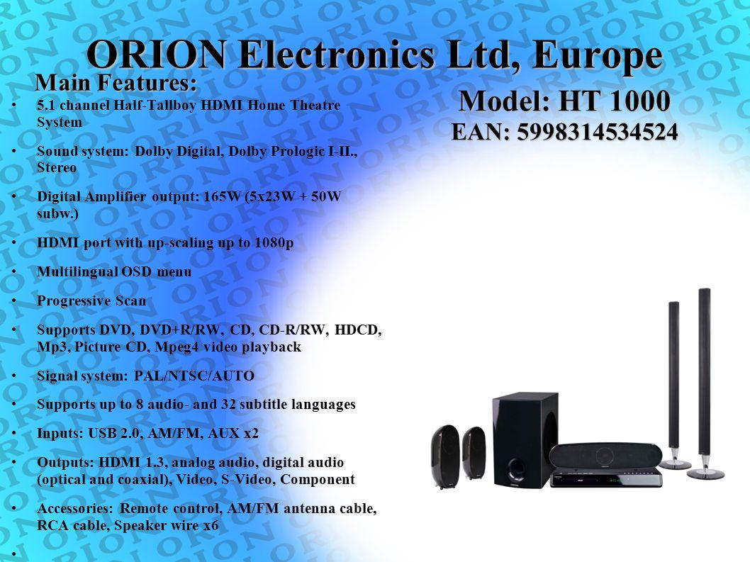 5.1 channel Half-Tallboy HDMI Home Theatre System Sound system: Dolby Digital, Dolby Prologic I-II., Stereo Digital Amplifier output: 165W (5x23W + 50