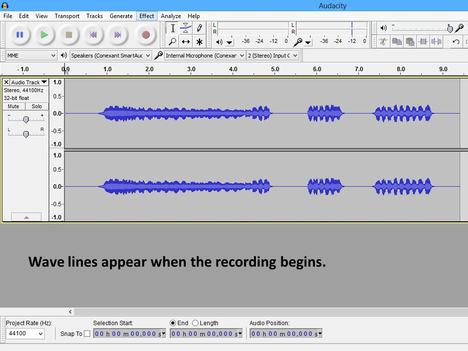 Wave lines appear when the recording begins.
