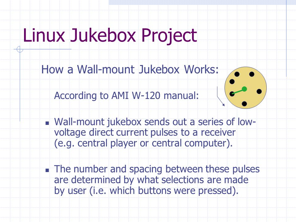 Linux Jukebox Project  How a Wall-mount Jukebox Works:  According to AMI W-120 manual: Wall-mount jukebox sends out a series of low- voltage direct current pulses to a receiver (e.g.