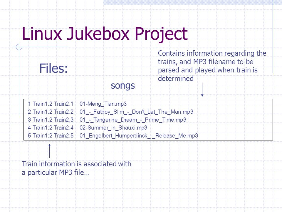 Linux Jukebox Project  Files:  1 Train1:2 Train2:1 01-Meng_Tian.mp3  2 Train1:2 Train2:2 01_-_Fatboy_Slim_-_Don t_Let_The_Man.mp3  3 Train1:2 Train2:3 01_-_Tangerine_Dream_-_Prime_Time.mp3  4 Train1:2 Train2:4 02-Summer_in_Shauxi.mp3  5 Train1:2 Train2:5 01_Engelbert_Humperdinck_-_Release_Me.mp3 songs Contains information regarding the trains, and MP3 filename to be parsed and played when train is determined Train information is associated with a particular MP3 file…