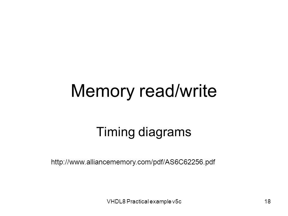 VHDL8 Practical example v5c18 Memory read/write Timing diagrams http://www.alliancememory.com/pdf/AS6C62256.pdf
