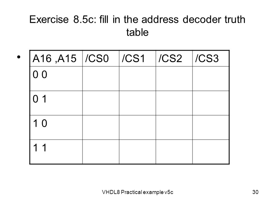 VHDL8 Practical example v5c30 Exercise 8.5c: fill in the address decoder truth table A16,A15/CS0/CS1/CS2/CS3 0 0 1 1 0 1