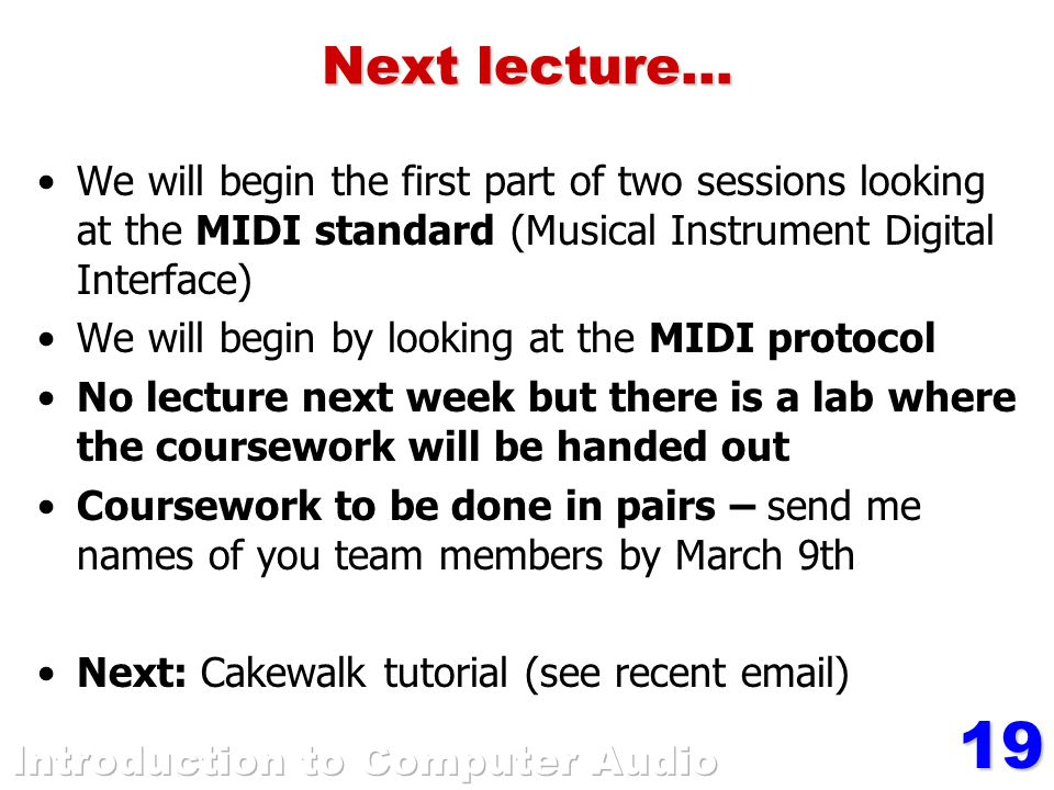 19 Next lecture...