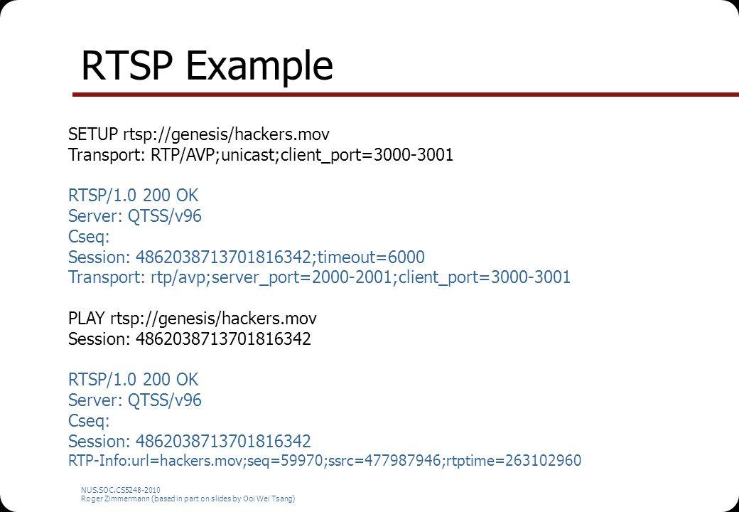 NUS.SOC.CS5248-2010 Roger Zimmermann (based in part on slides by Ooi Wei Tsang) RTSP Example SETUP rtsp://genesis/hackers.mov Transport: RTP/AVP;unica