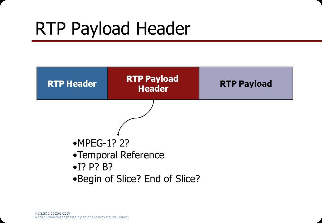 NUS.SOC.CS5248-2010 Roger Zimmermann (based in part on slides by Ooi Wei Tsang) RTP Payload Header RTP Header RTP Payload Header RTP Payload MPEG-1? 2