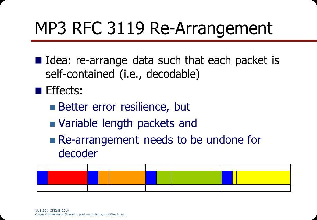MP3 RFC 3119 Re-Arrangement Idea: re-arrange data such that each packet is self-contained (i.e., decodable) Effects: Better error resilience, but Vari