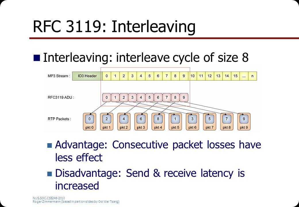 RFC 3119: Interleaving Interleaving: interleave cycle of size 8 Advantage: Consecutive packet losses have less effect Disadvantage: Send & receive lat