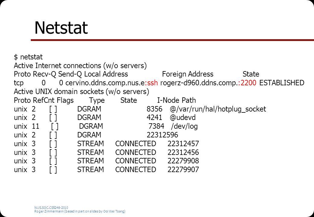 Netstat $ netstat Active Internet connections (w/o servers) Proto Recv-Q Send-Q Local Address Foreign Address State tcp 0 0 cervino.ddns.comp.nus.e:ss