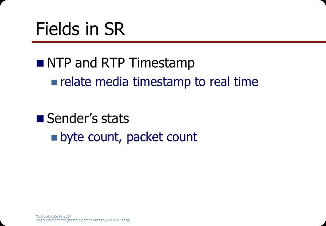 Tcpdump Needs 'root' privileges to run Monitoring/capturing RTP traffic: $ tcpdump -T rtp -vvv src NUS.SOC.CS5248-2010 Roger Zimmermann (based in part on slides by Ooi Wei Tsang)