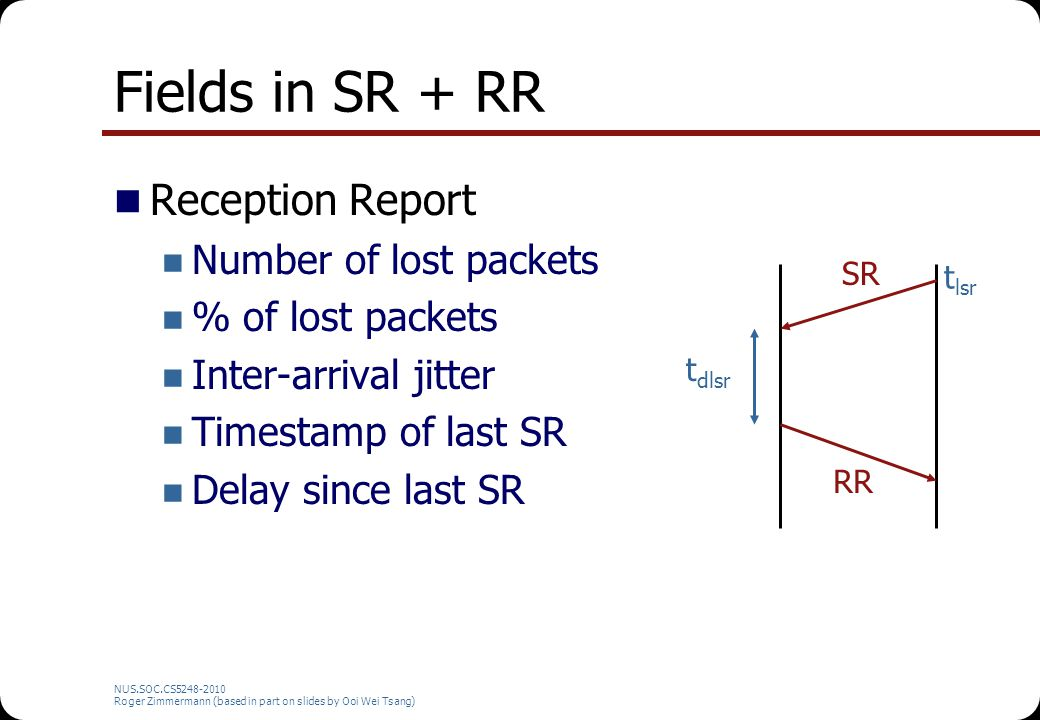 NUS.SOC.CS5248-2010 Roger Zimmermann (based in part on slides by Ooi Wei Tsang) RTCP Scaling (2) B: Fix RTCP bandwidth N: Number of participants S: Mean RTCP packet size Sending interval =