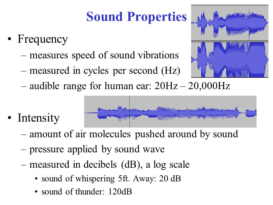 Sound File Formats WAV –stores raw sound data, is the largest format –easy on CPU MP3/M4A, OGG, & WMA –compressed formats ~10:1 compression over WAV –negligible quality difference from WAV –decompression CPU hit MIDI –programmed sound