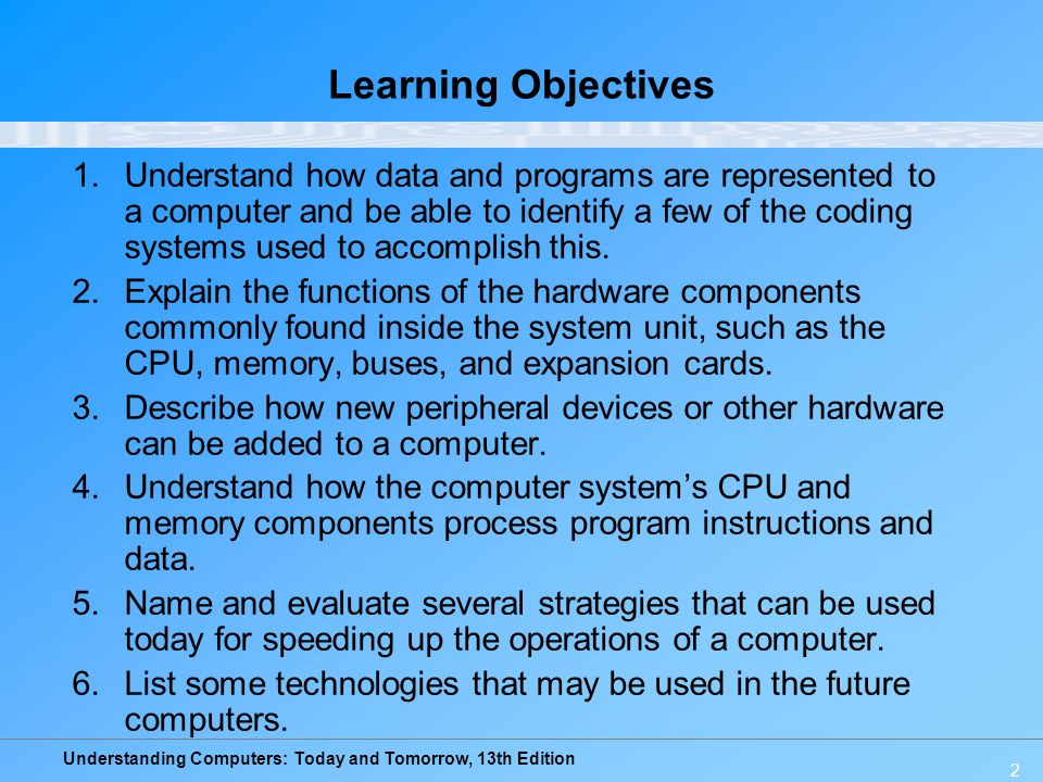 Understanding Computers: Today and Tomorrow, 13th Edition 3 Overview This chapter covers: –How computers represent data and program instructions –How the CPU, memory, and other components located inside the system unit are arranged, as well as the characteristics of the components –How the CPU performs processing tasks –Strategies to speed up a computer today and to create faster computers in the future