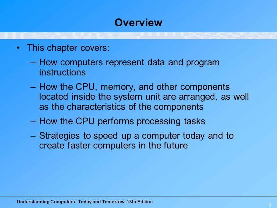 Understanding Computers: Today and Tomorrow, 13th Edition 14 Inside the System Unit System unit: The main case of a computer –Houses the processing hardware for a computer –Also contains storage devices, the power supply, and cooling fans –Houses the CPU, memory, interfaces to connect to peripheral devices (printers, etc), and other components such as CD/DVD drives –With a desktop computer, usually looks like a rectangular box