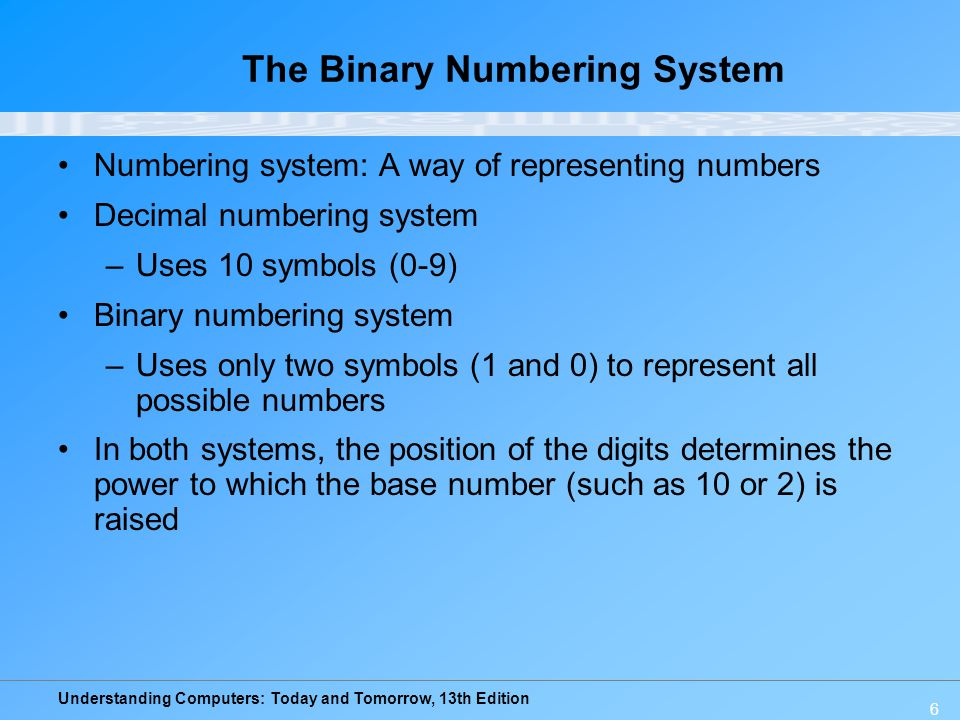 Understanding Computers: Today and Tomorrow, 13th Edition 7 The Binary Numbering System