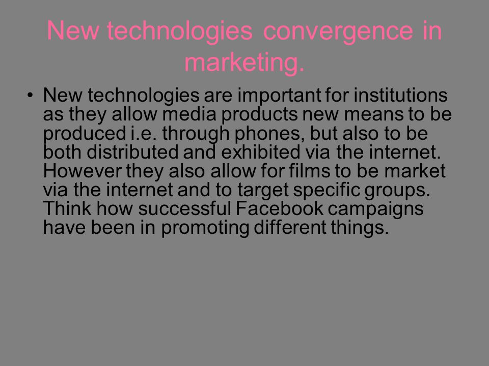 New technologies convergence in marketing.