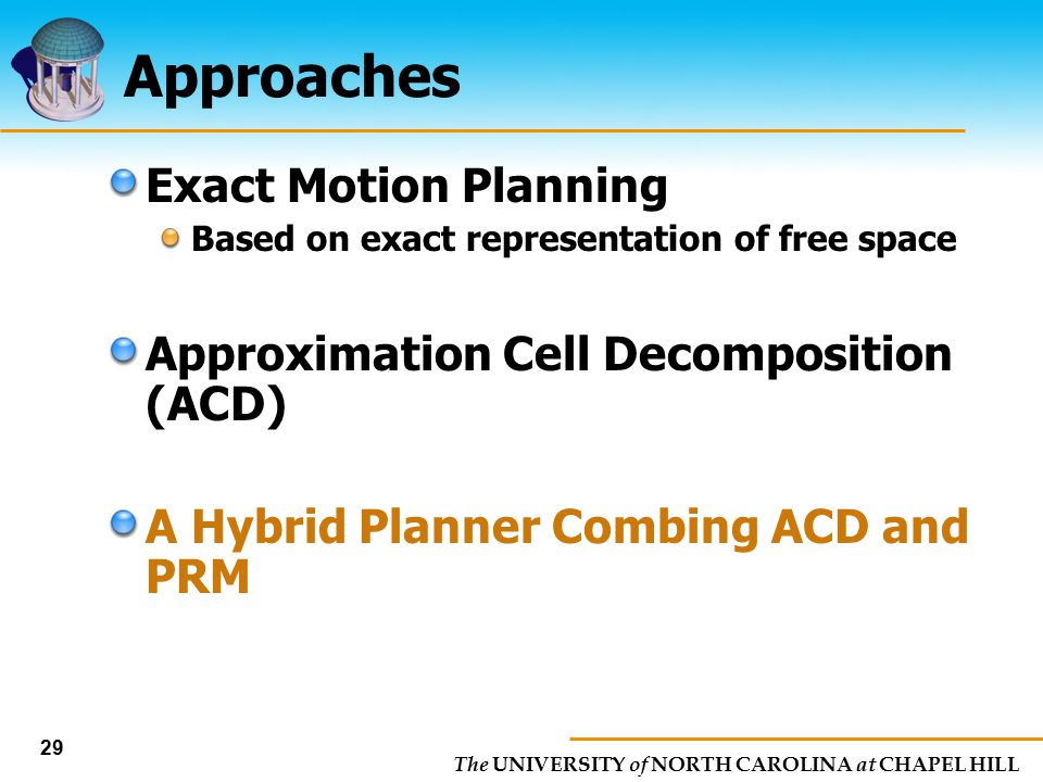 The UNIVERSITY of NORTH CAROLINA at CHAPEL HILL 29 Approaches Exact Motion Planning Based on exact representation of free space Approximation Cell Dec