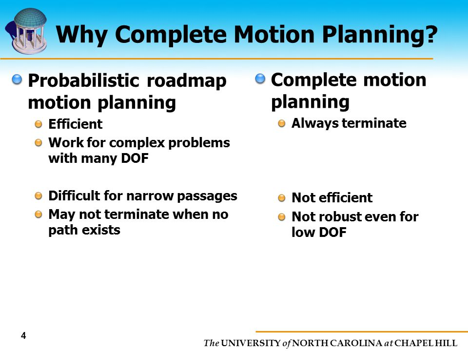The UNIVERSITY of NORTH CAROLINA at CHAPEL HILL 4 Why Complete Motion Planning? Probabilistic roadmap motion planning Efficient Work for complex probl