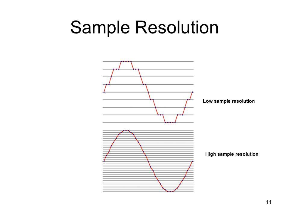 11 Sample Resolution Low sample resolution High sample resolution
