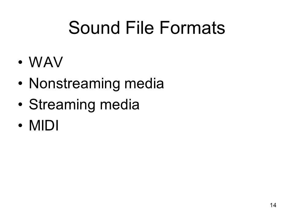 14 Sound File Formats WAV Nonstreaming media Streaming media MIDI