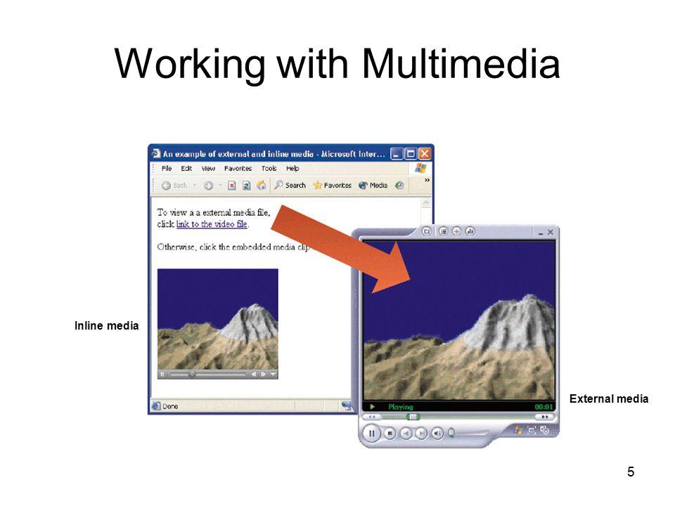 5 Working with Multimedia Inline media External media