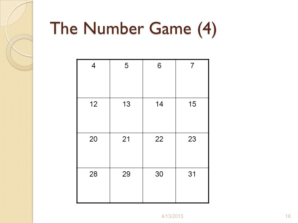 The Number Game (4) 4/13/201516 4567 12131415 20212223 28293031