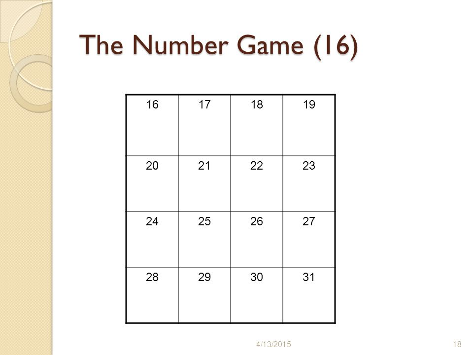 The Number Game (16) 4/13/201518 16171819 20212223 24252627 28293031