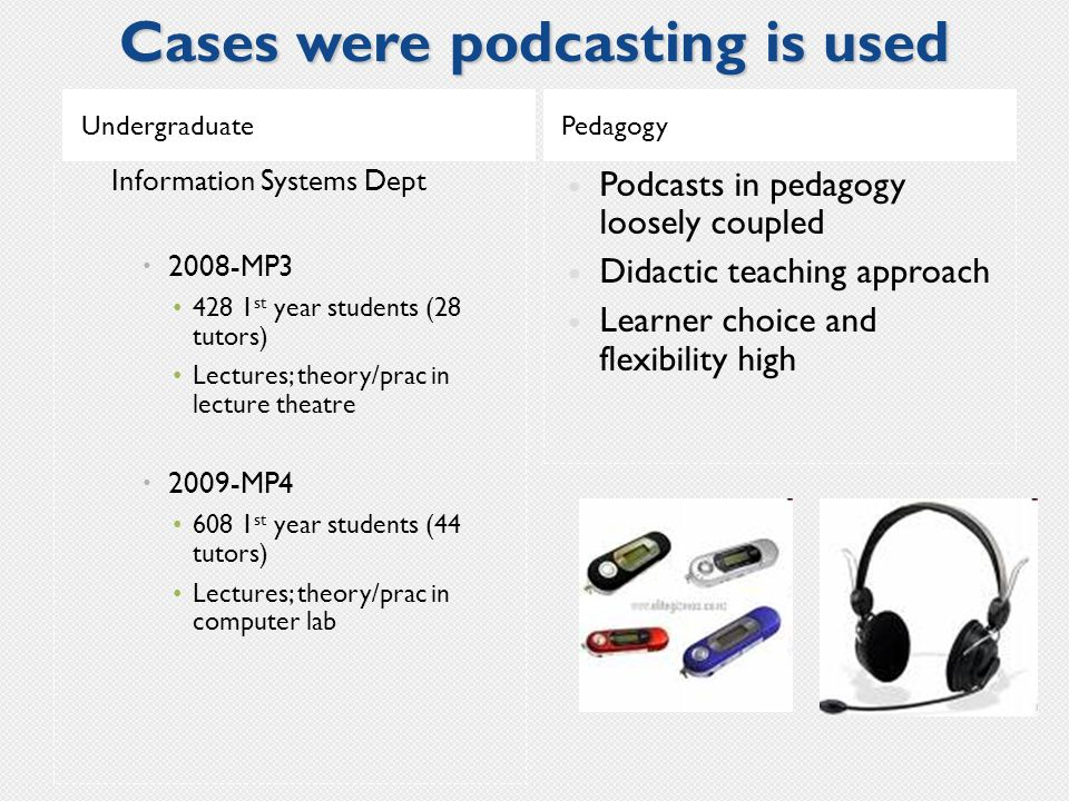 Cases were podcasting is used UndergraduatePedagogy Information Systems Dept  2008-MP3 428 1 st year students (28 tutors) Lectures; theory/prac in lecture theatre  2009-MP4 608 1 st year students (44 tutors) Lectures; theory/prac in computer lab Podcasts in pedagogy loosely coupled Didactic teaching approach Learner choice and flexibility high
