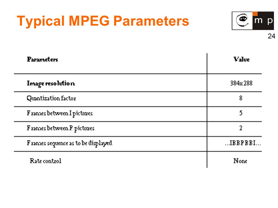 24 Typical MPEG Parameters