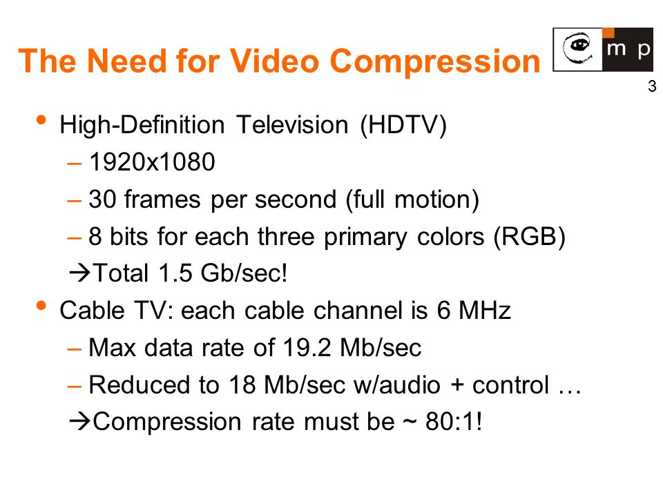 3 The Need for Video Compression High-Definition Television (HDTV) –1920x1080 –30 frames per second (full motion) –8 bits for each three primary colors (RGB)  Total 1.5 Gb/sec.