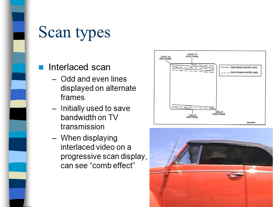 Scan types Interlaced scan –Odd and even lines displayed on alternate frames –Initially used to save bandwidth on TV transmission –When displaying int