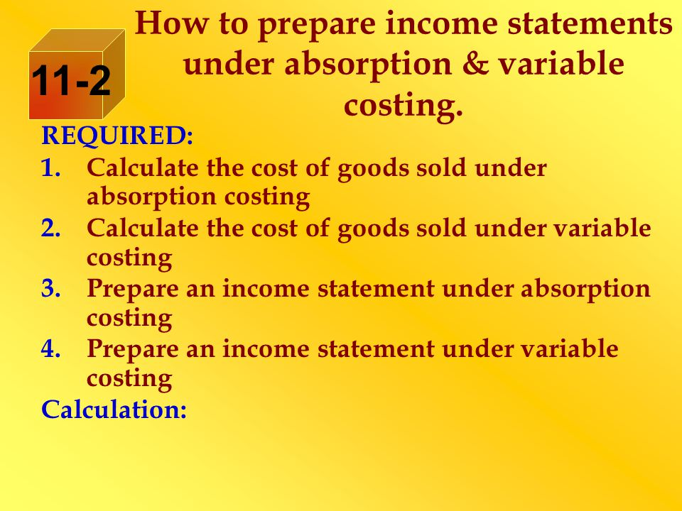 REQUIRED: 1.Calculate the cost of goods sold under absorption costing 2.Calculate the cost of goods sold under variable costing 3.Prepare an income st