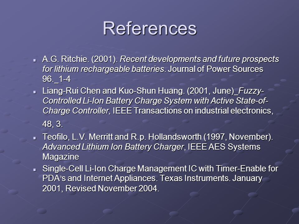 References A.G. Ritchie. (2001).