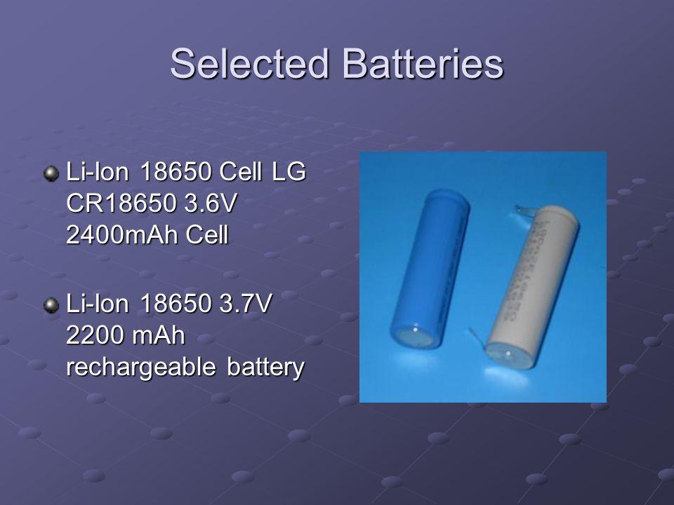 Selected Batteries Li-Ion 18650 Cell LG CR18650 3.6V 2400mAh Cell Li-Ion 18650 3.7V 2200 mAh rechargeable battery