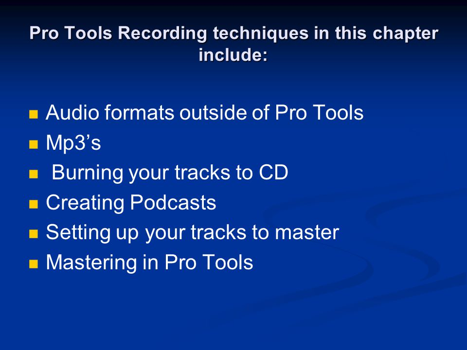 Audio Formats outside of Pro Tools MP3.The most common and well known compressed audio format.