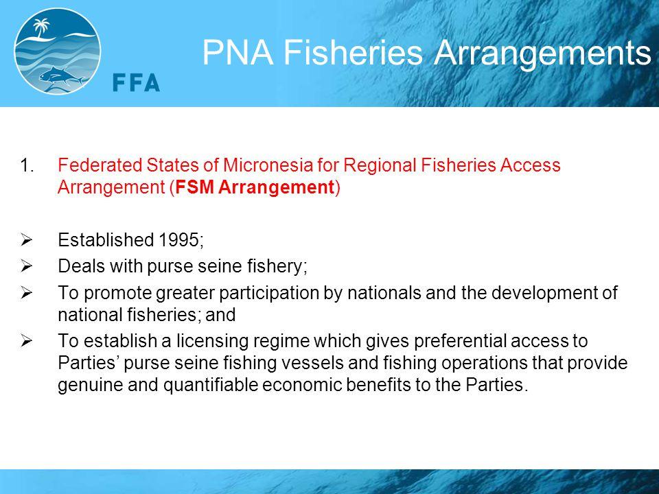 PNA Fisheries Arrangements 1.Federated States of Micronesia for Regional Fisheries Access Arrangement (FSM Arrangement)  Established 1995;  Deals wi